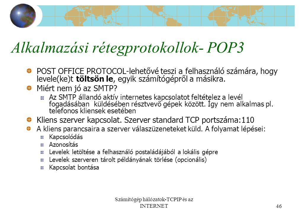 Alkalmazási rétegprotokollok- POP3