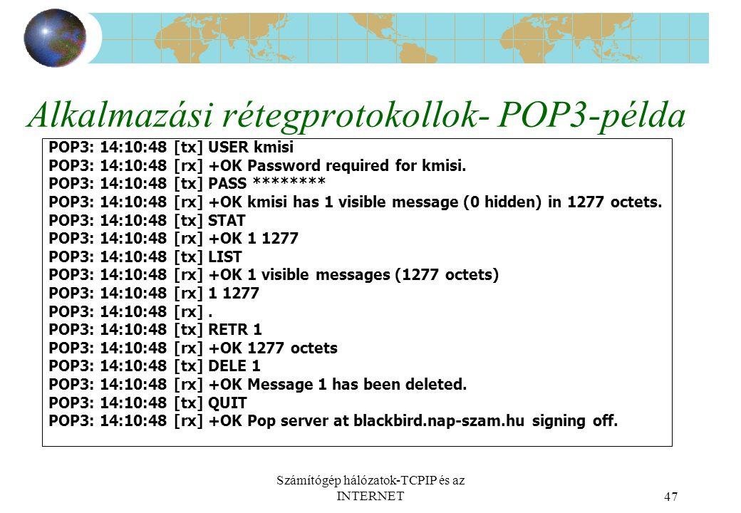 Alkalmazási rétegprotokollok- POP3-példa