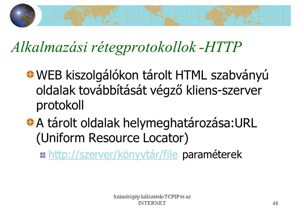 Alkalmazási rétegprotokollok -HTTP