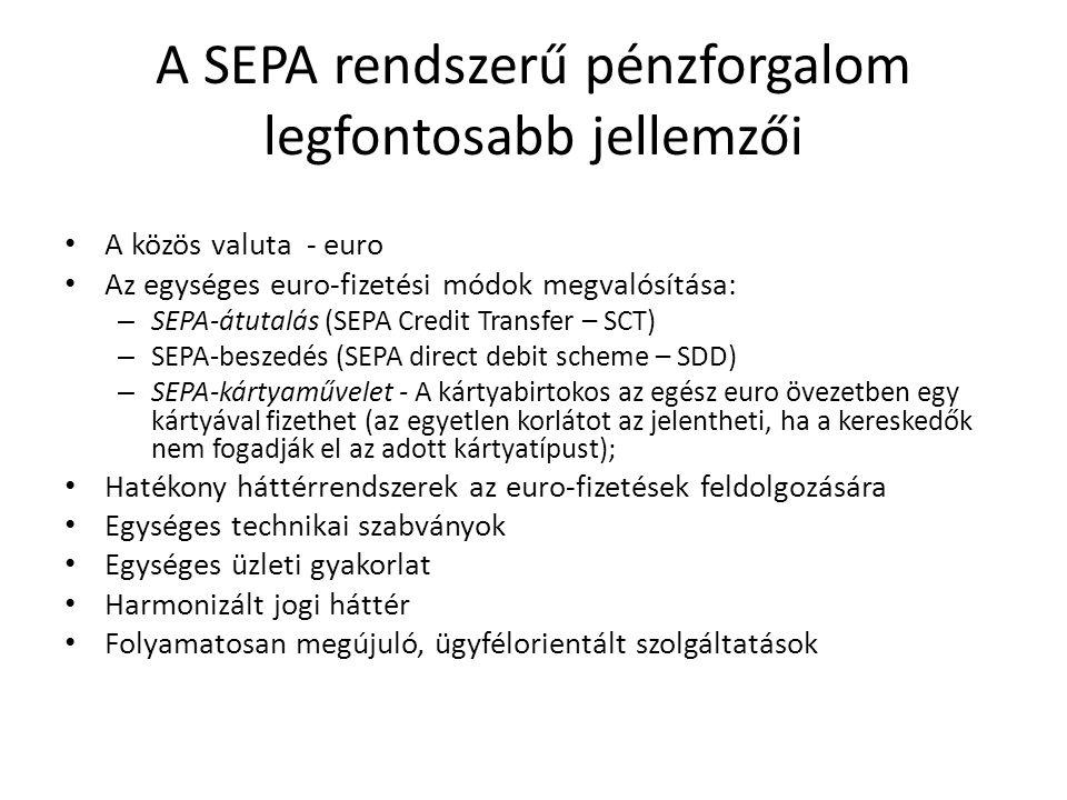 A SEPA rendszerű pénzforgalom legfontosabb jellemzői