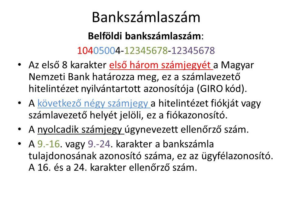 Belföldi bankszámlaszám: