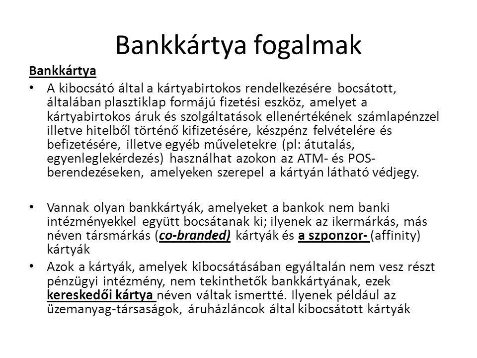 Bankkártya fogalmak Bankkártya