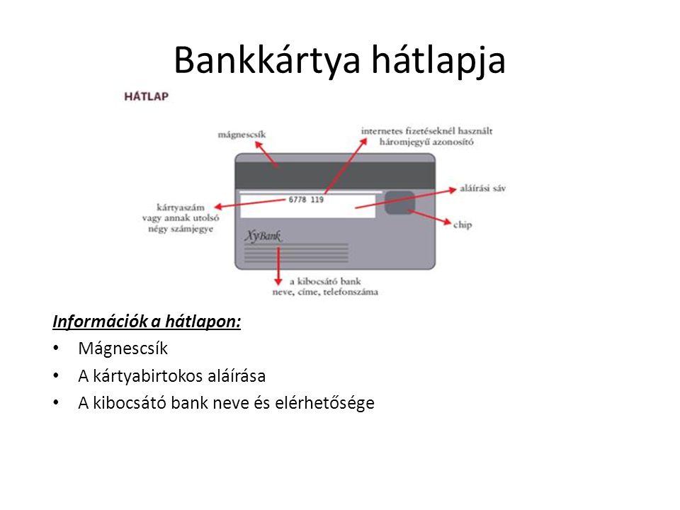 Bankkártya hátlapja Információk a hátlapon: Mágnescsík