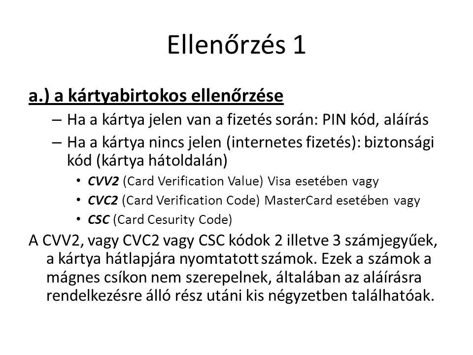 Ellenőrzés 1 a.) a kártyabirtokos ellenőrzése