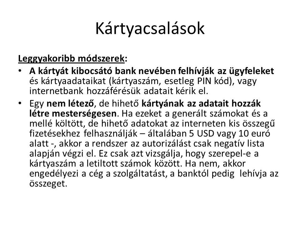 Kártyacsalások Leggyakoribb módszerek: