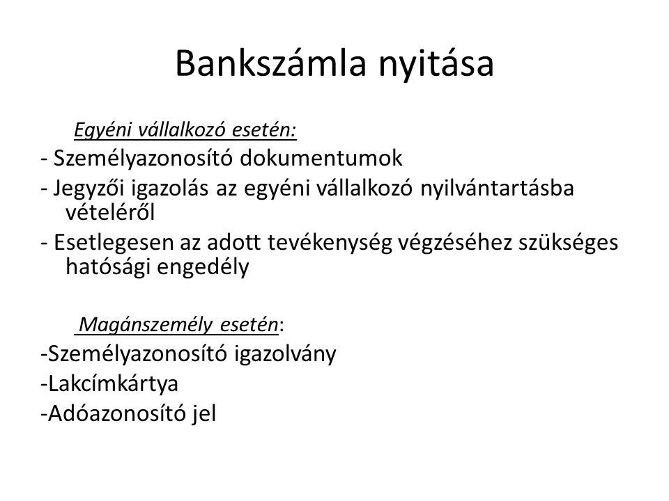 Bankszámla nyitása - Személyazonosító dokumentumok