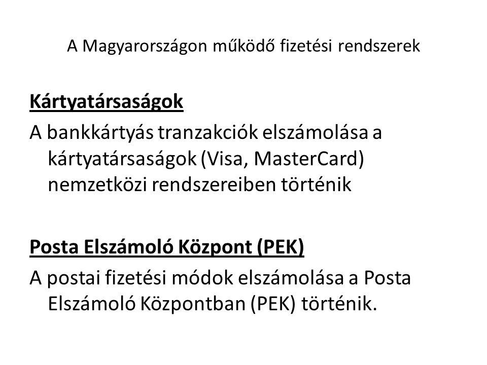 A Magyarországon működő fizetési rendszerek