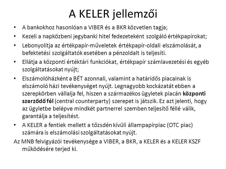 A KELER jellemzői A bankokhoz hasonlóan a VIBER és a BKR közvetlen tagja; Kezeli a napközbeni jegybanki hitel fedezeteként szolgáló értékpapírokat;
