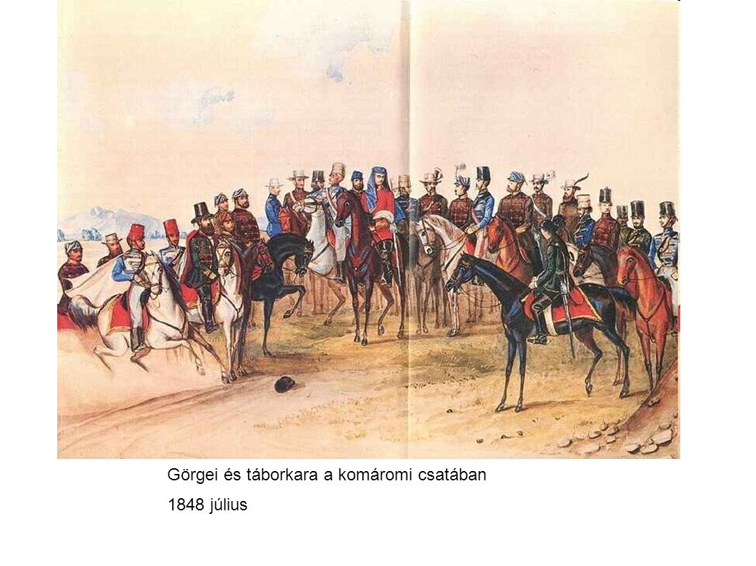 Görgei és táborkara a komáromi csatában