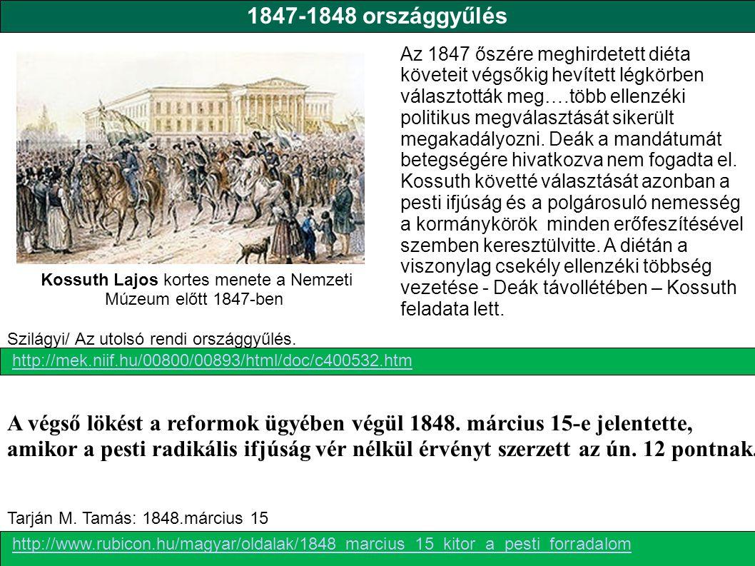 Kossuth Lajos kortes menete a Nemzeti Múzeum előtt 1847-ben
