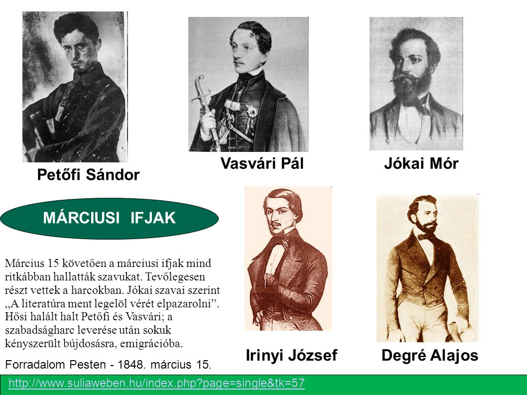 Vasvári Pál Jókai Mór Petőfi Sándor MÁRCIUSI IFJAK