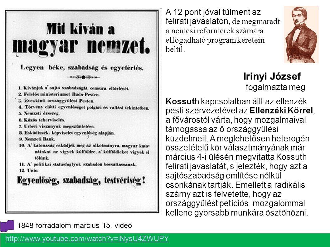 (Tk. 5 159. Old) Ennek hatására fogalmazta meg Irinyi József a Tizenkét pontot, ami már jóval túlment az eredeti felirati javaslaton, de megmaradt a nemesi reformerek számára elfogadható program keretein belül. A tervek szerint a március 19-i tömeggyűlésen erősíttették volna meg, de március 14-én úgy döntött a Pilvax-kör, hogy forradalomra van szükség, és nyilvánosságra kell hozni. Március 15. reggelén a Nemzeti dallal együtt elvitték Landerer és Heckenast nyomdájába, ahol a nyomdagépet lefoglalva kinyomtatták. Másnap petícióként küldték Pozsonyba, a tömeggyűlés megerősítése nélkül, de a forradalom súlyával.
