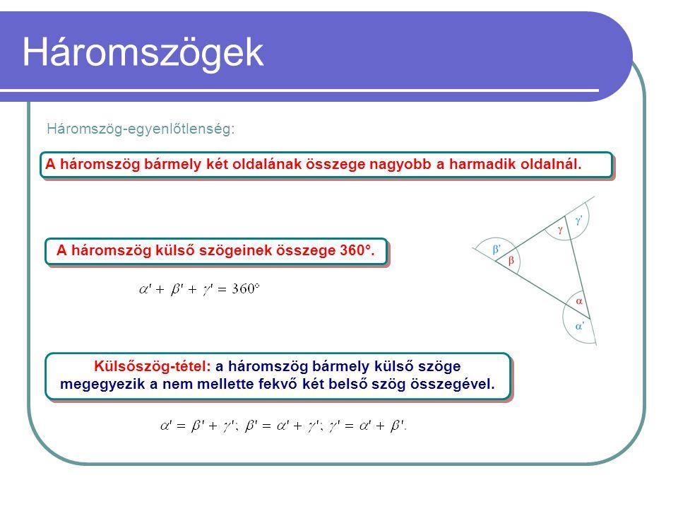 A háromszög külső szögeinek összege 360°.