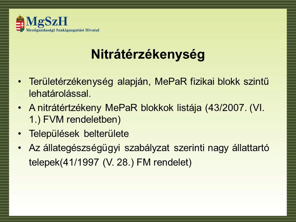 Nitrátérzékenység Területérzékenység alapján, MePaR fizikai blokk szintű lehatárolással.