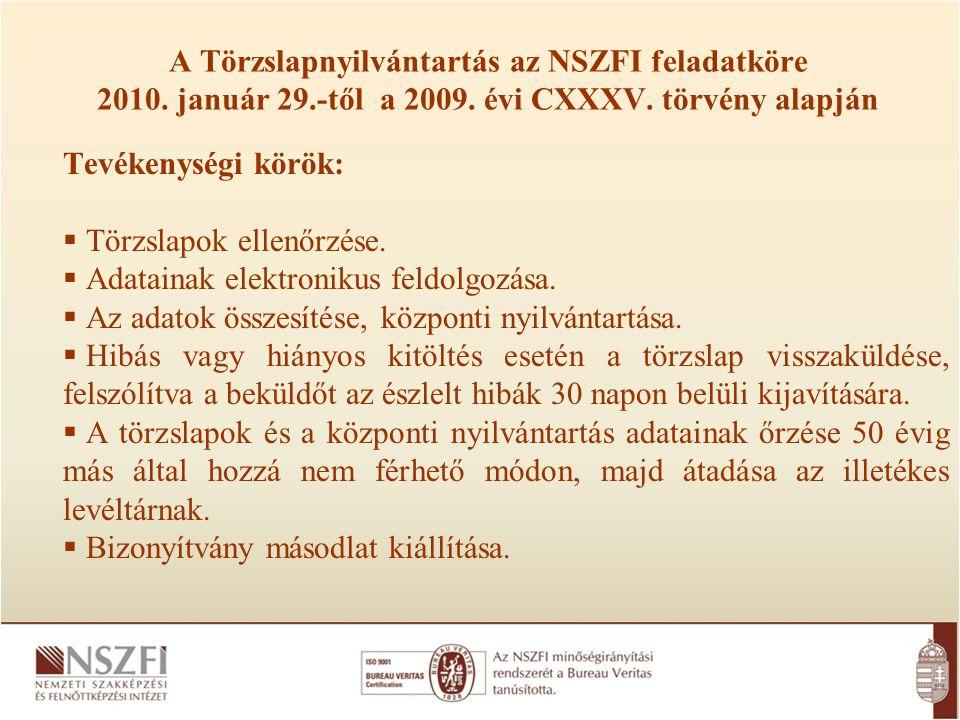 A Törzslapnyilvántartás az NSZFI feladatköre 2010. január 29