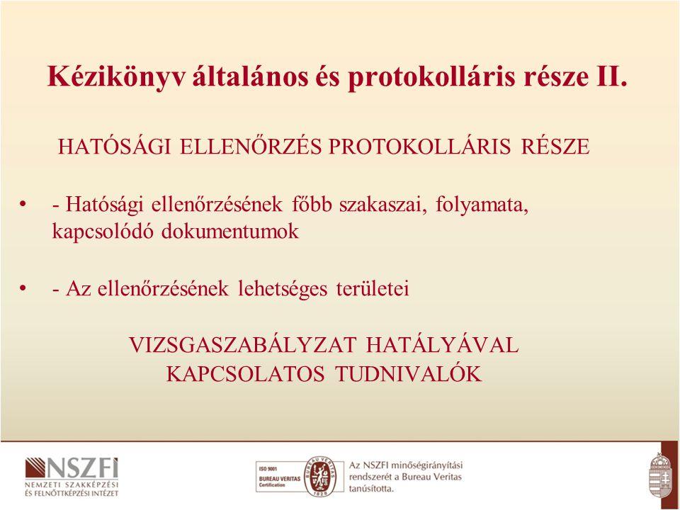 Kézikönyv általános és protokolláris része II.