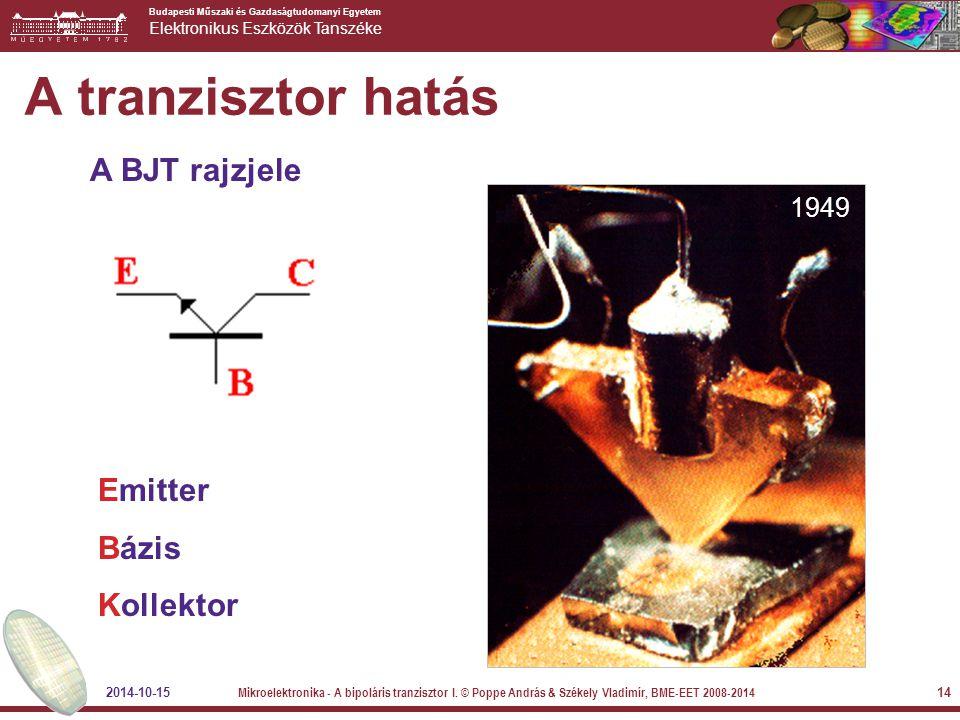 A tranzisztor hatás A BJT rajzjele Emitter Bázis Kollektor 1949