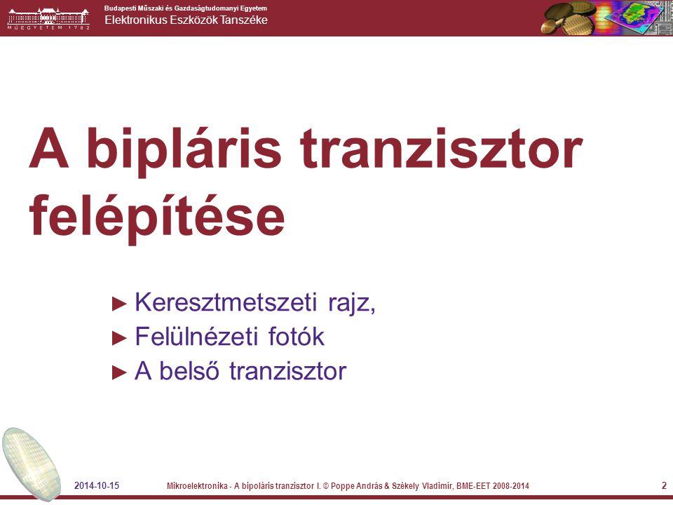 A bipláris tranzisztor felépítése