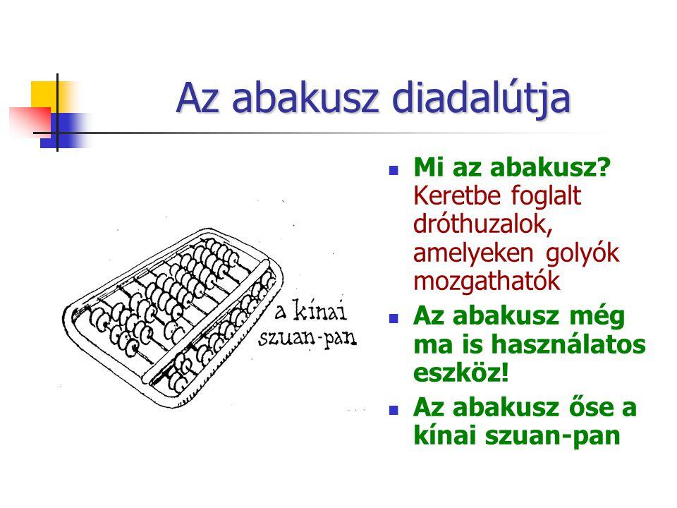 Az abakusz diadalútja Mi az abakusz Keretbe foglalt dróthuzalok, amelyeken golyók mozgathatók. Az abakusz még ma is használatos eszköz!