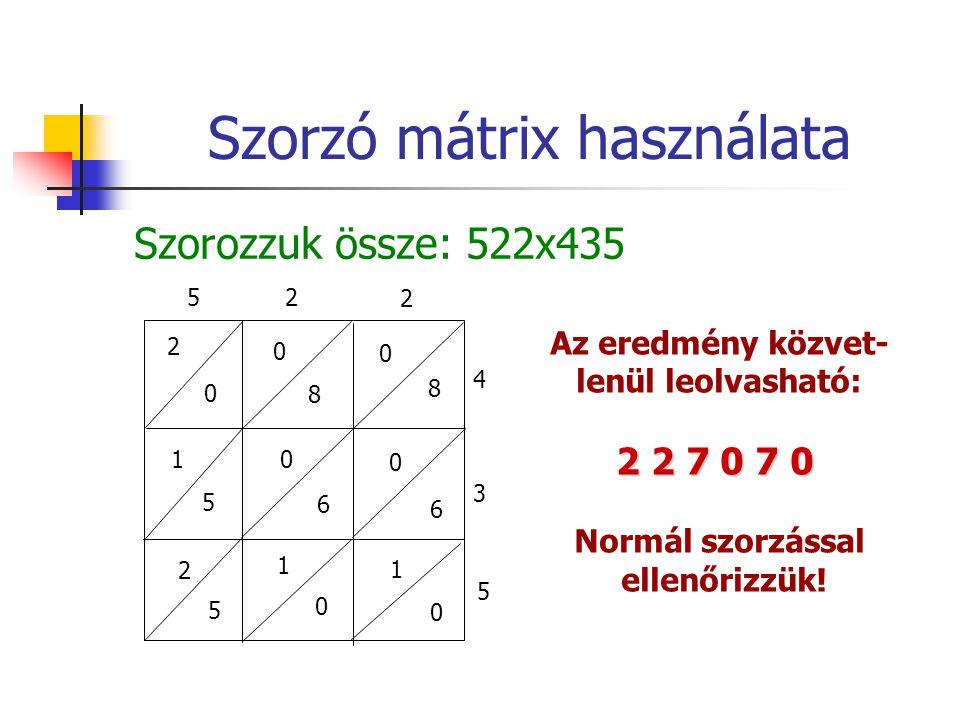 Szorzó mátrix használata