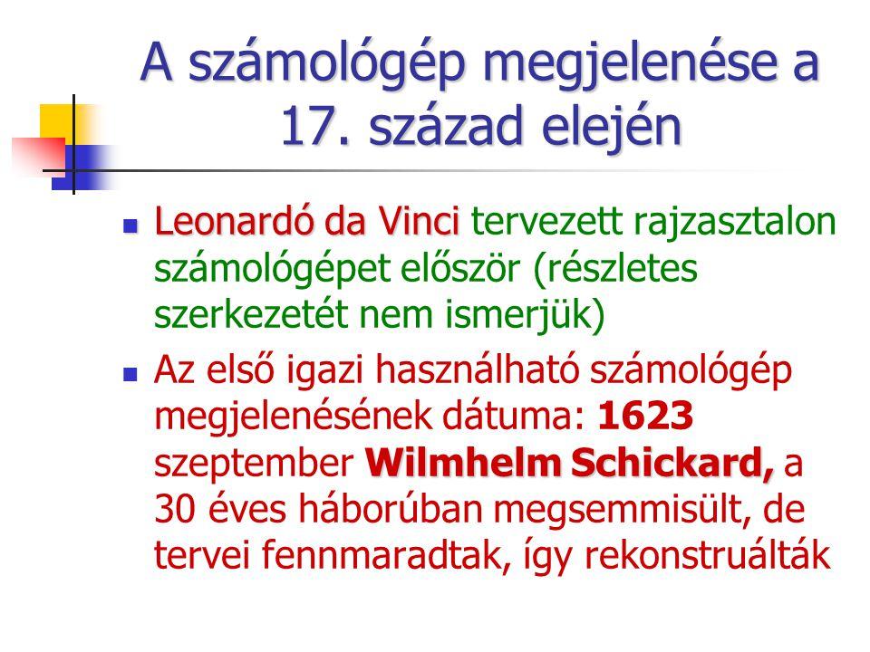 A számológép megjelenése a 17. század elején