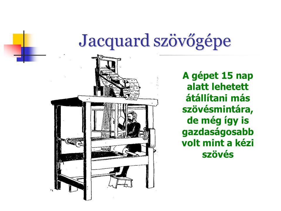 Jacquard szövőgépe A gépet 15 nap alatt lehetett átállítani más szövésmintára, de még így is gazdaságosabb volt mint a kézi szövés.