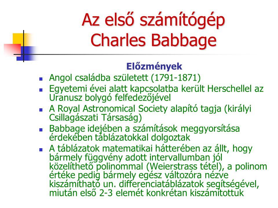 Az első számítógép Charles Babbage