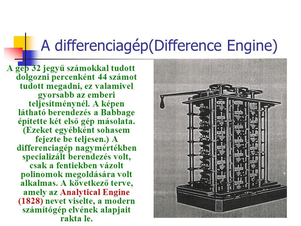 A differenciagép(Difference Engine)