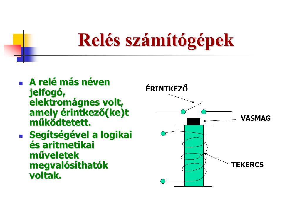 Relés számítógépek A relé más néven jelfogó, elektromágnes volt, amely érintkező(ke)t működtetett.