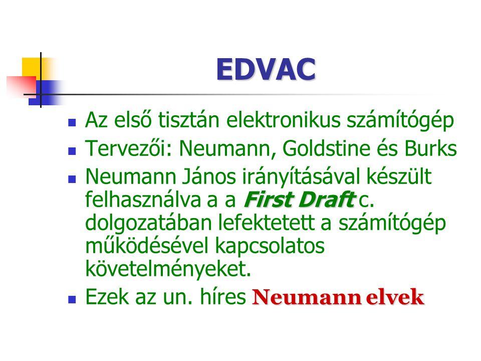 EDVAC Az első tisztán elektronikus számítógép