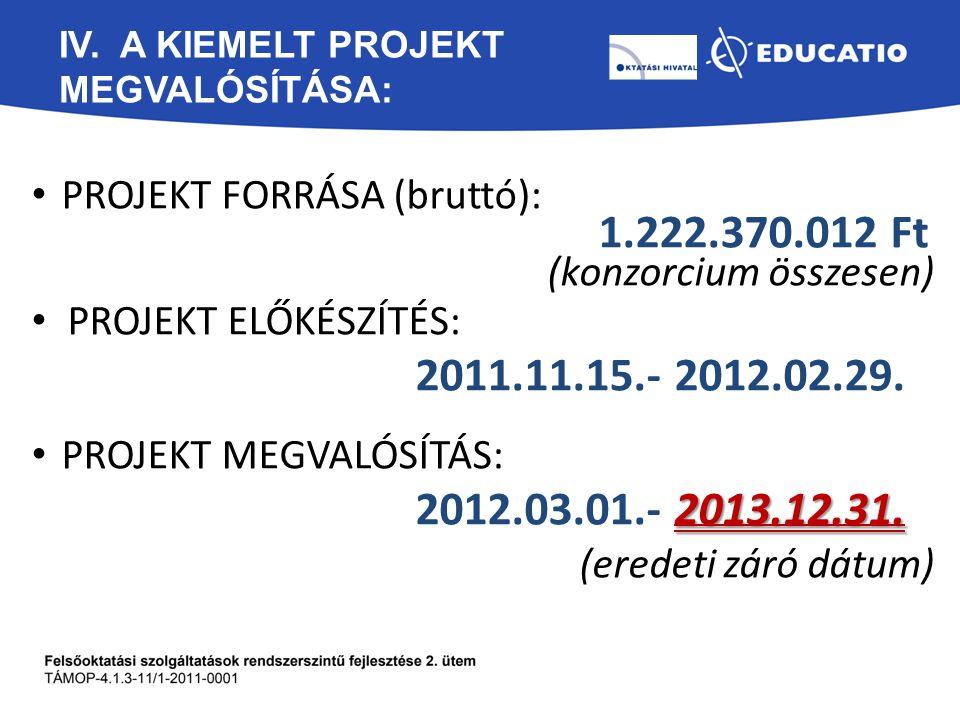 IV. A KIEMELT PROJEKT megvalósítása:
