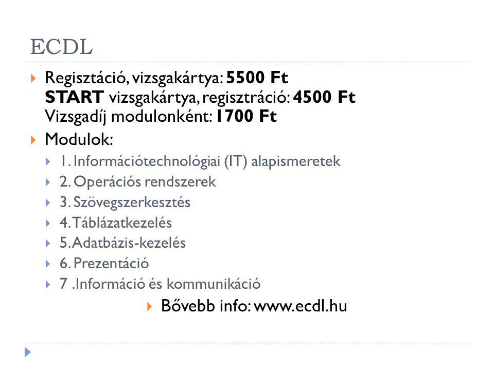 Bővebb info: www.ecdl.hu