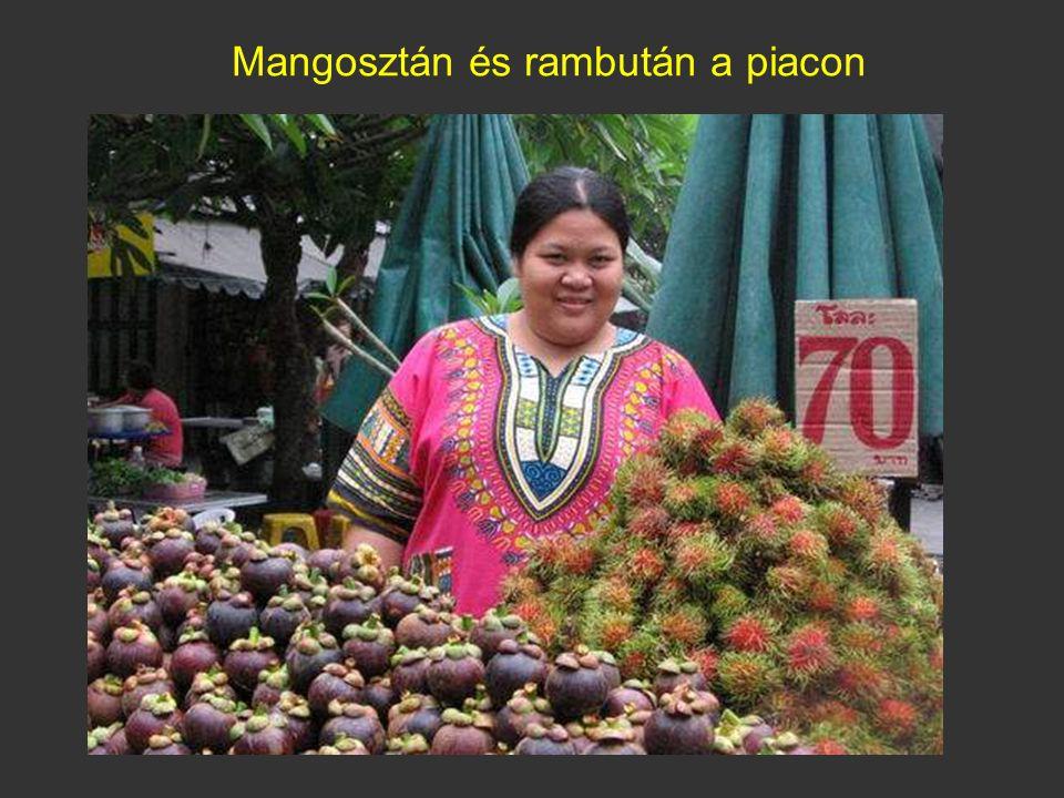 Mangosztán és rambután a piacon