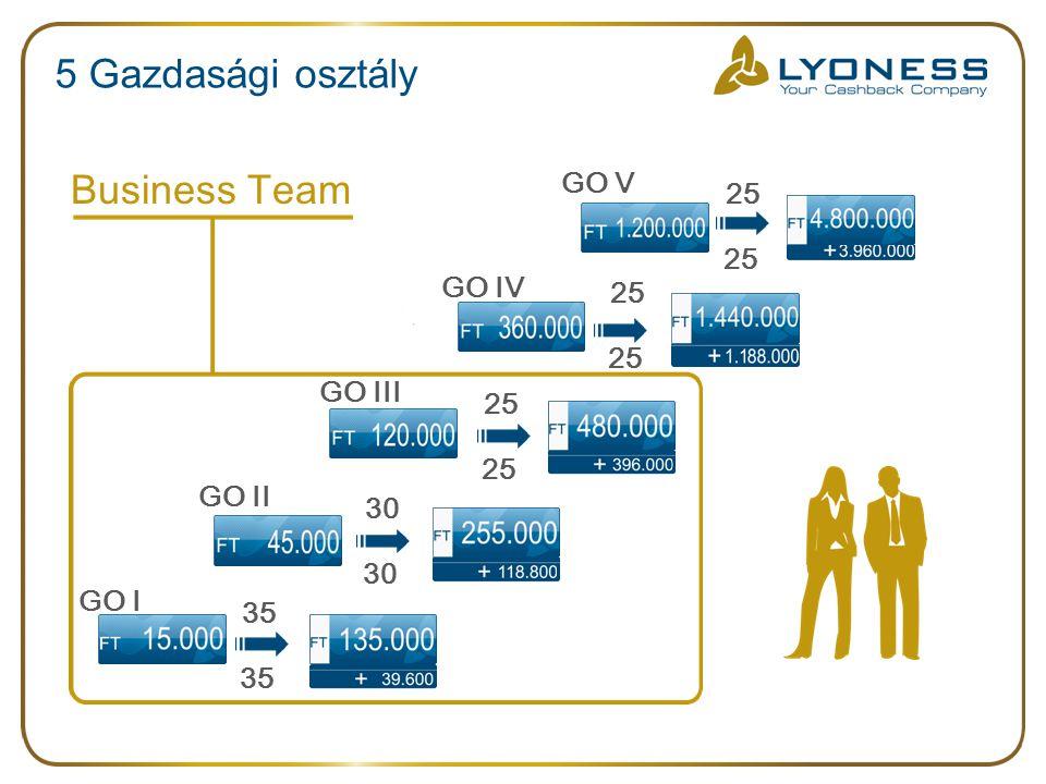 5 Gazdasági osztály Business Team GO V GO IV GO III GO II GO I 25 25