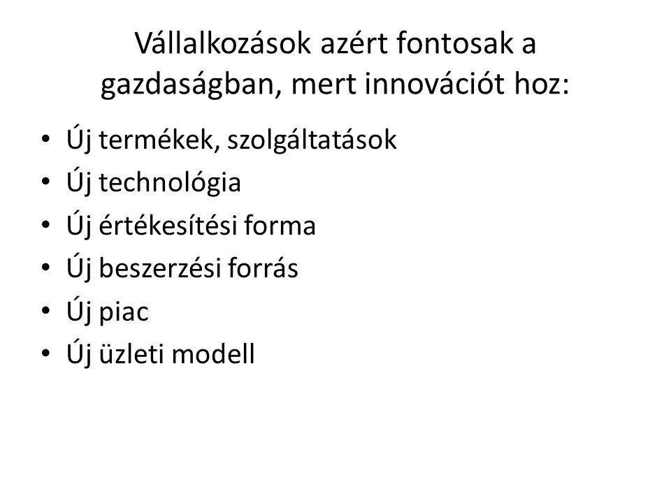 Vállalkozások azért fontosak a gazdaságban, mert innovációt hoz: