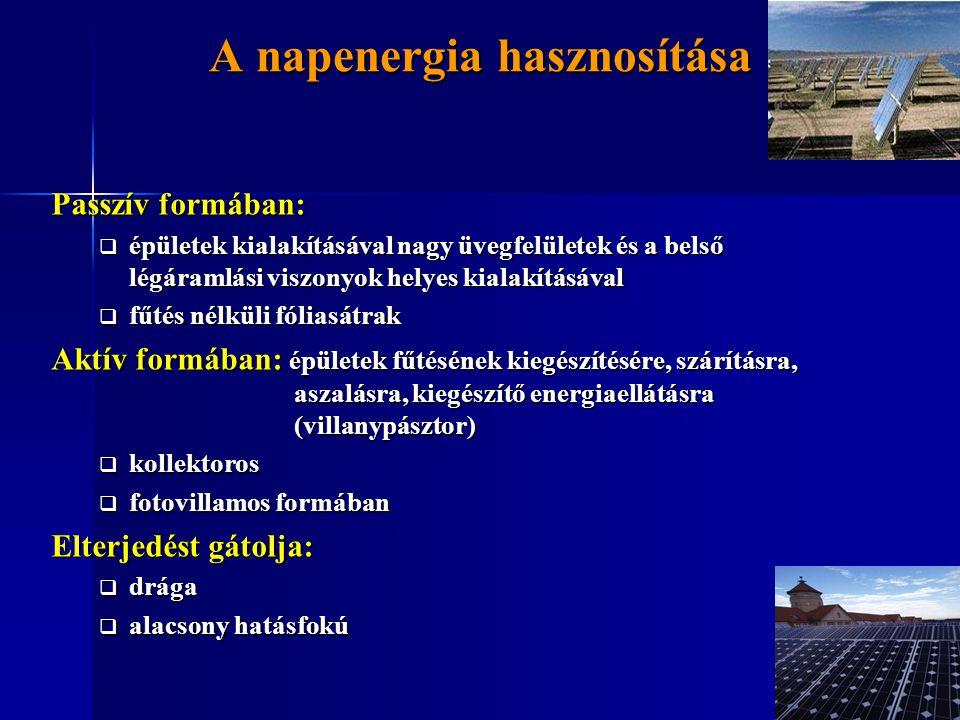 A napenergia hasznosítása