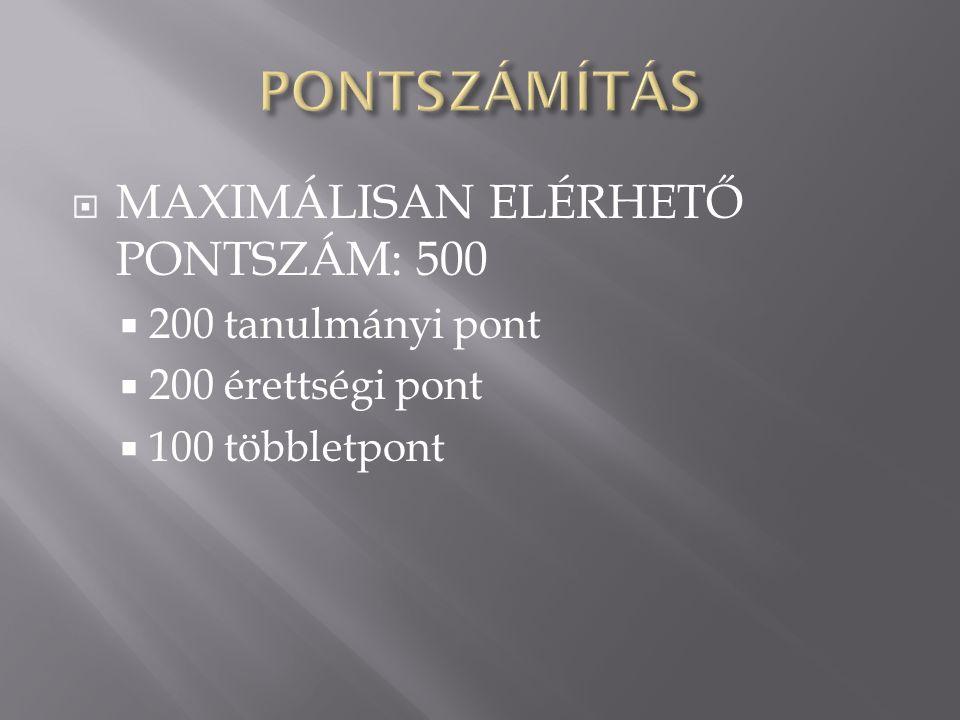PONTSZÁMÍTÁS MAXIMÁLISAN ELÉRHETŐ PONTSZÁM: 500 200 tanulmányi pont
