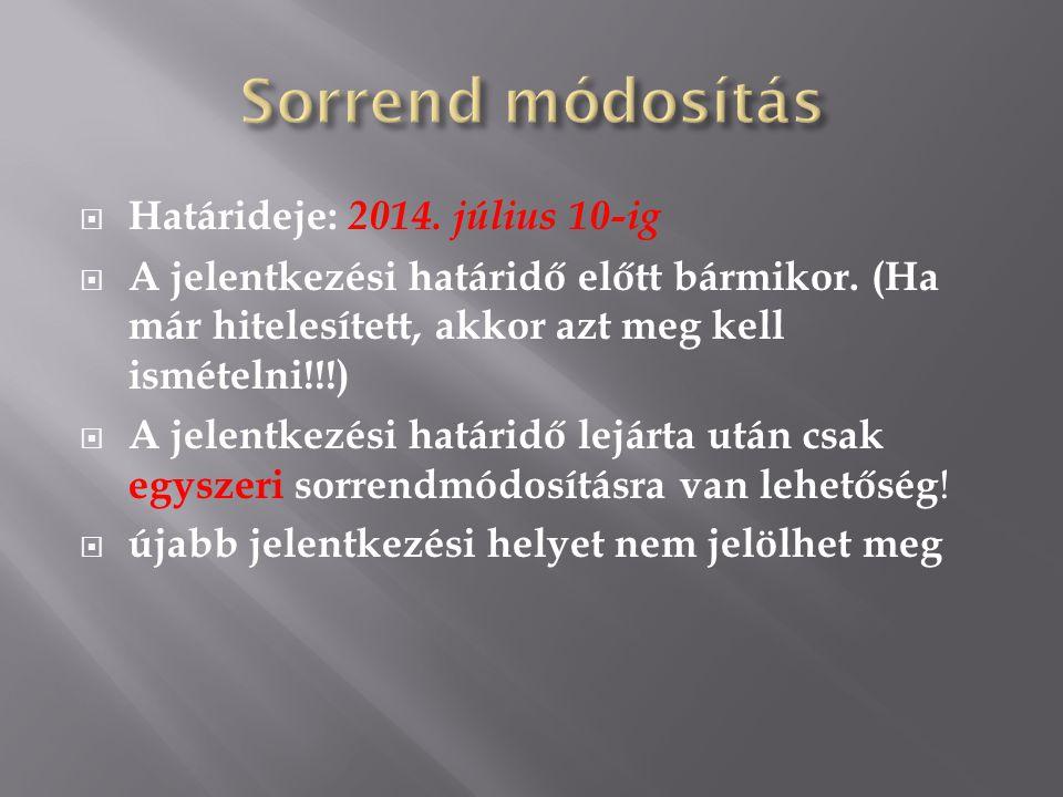 Sorrend módosítás Határideje: 2014. július 10-ig