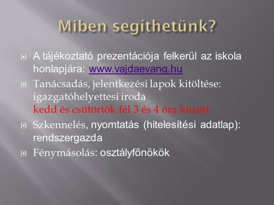 Miben segíthetünk A tájékoztató prezentációja felkerül az iskola honlapjára: www.vajdaevang.hu.