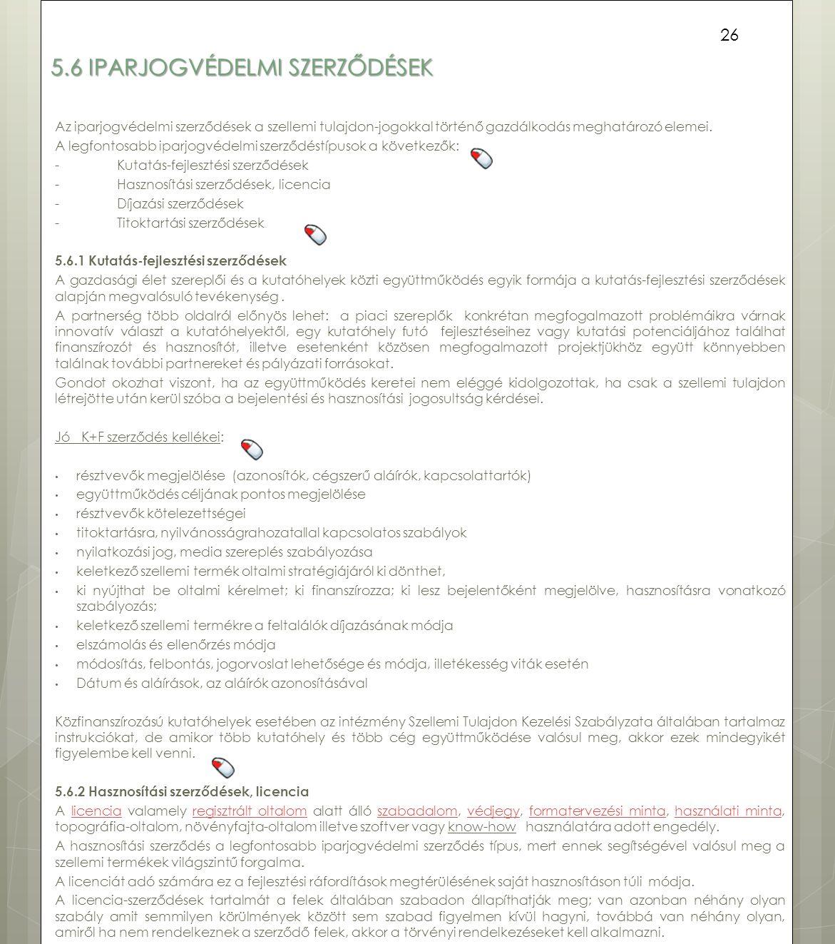 5.6 Iparjogvédelmi szerződések
