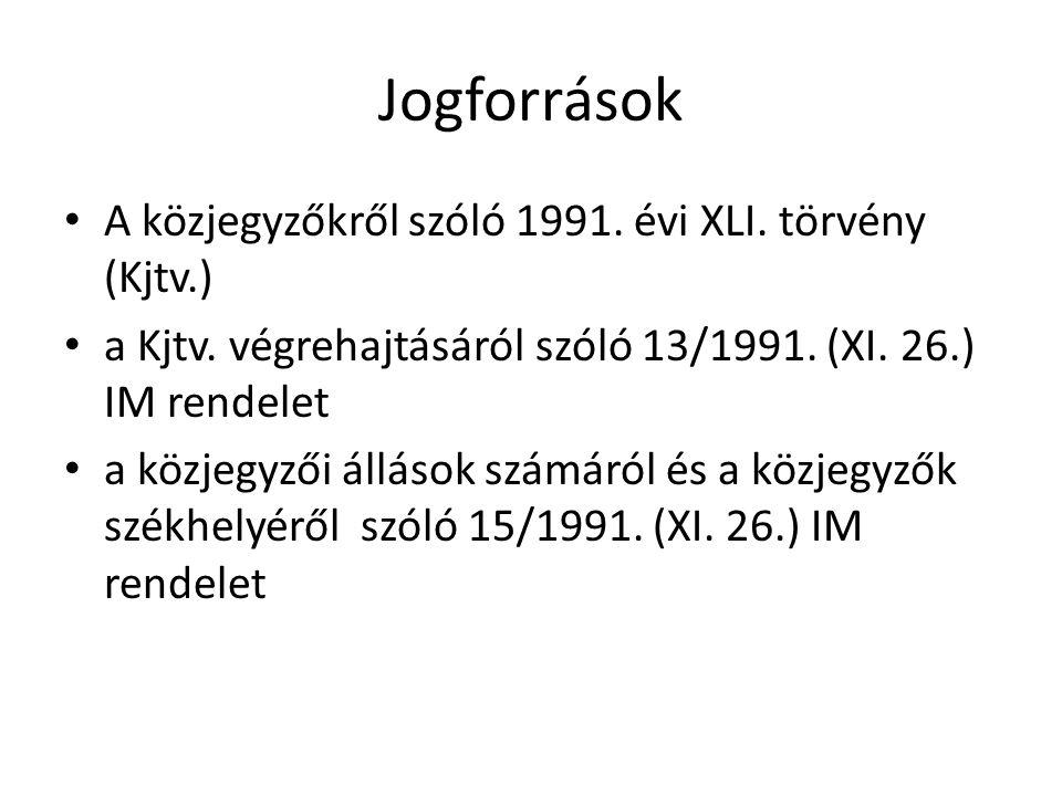 Jogforrások A közjegyzőkről szóló 1991. évi XLI. törvény (Kjtv.)