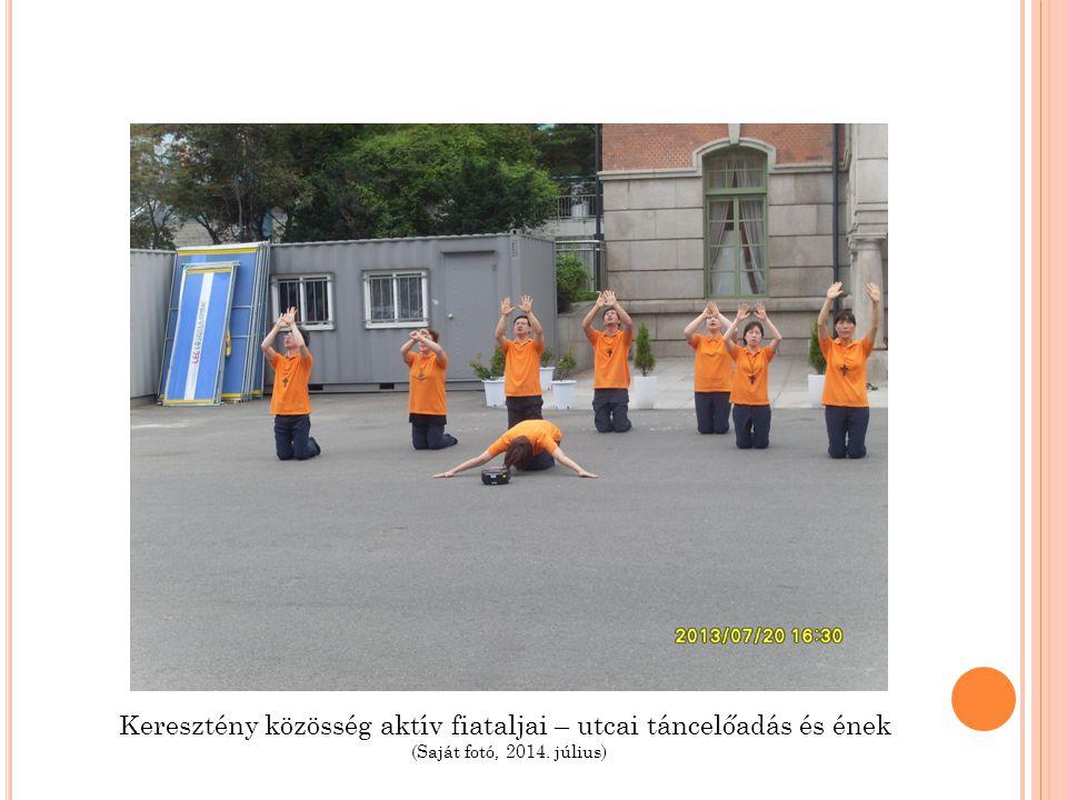 Keresztény közösség aktív fiataljai – utcai táncelőadás és ének (Saját fotó, 2014. július)