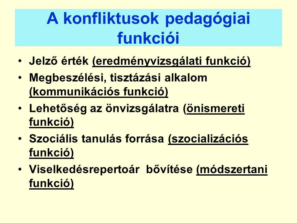 A konfliktusok pedagógiai funkciói