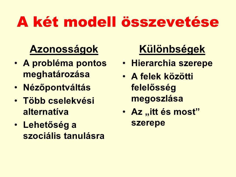 A két modell összevetése