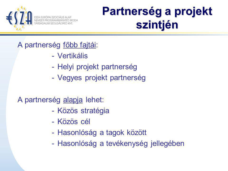 Partnerség a projekt szintjén