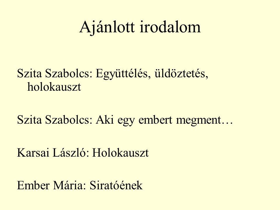 Ajánlott irodalom Szita Szabolcs: Együttélés, üldöztetés, holokauszt