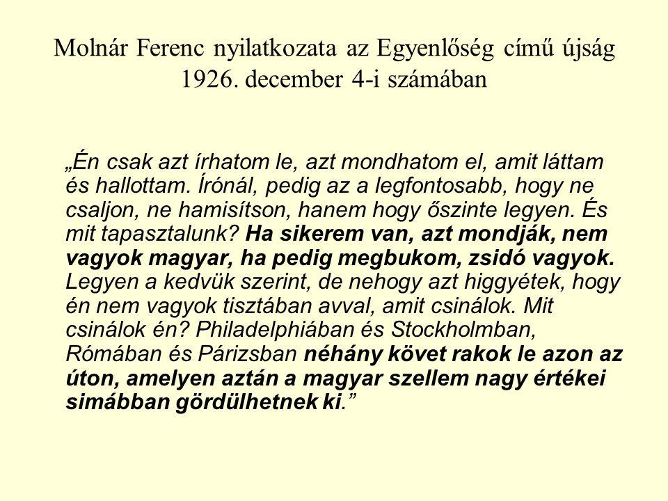 Molnár Ferenc nyilatkozata az Egyenlőség című újság 1926