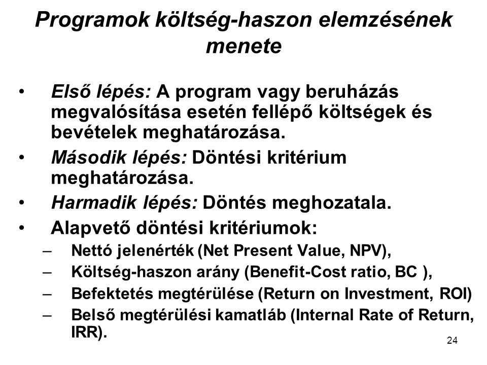 Programok költség-haszon elemzésének menete
