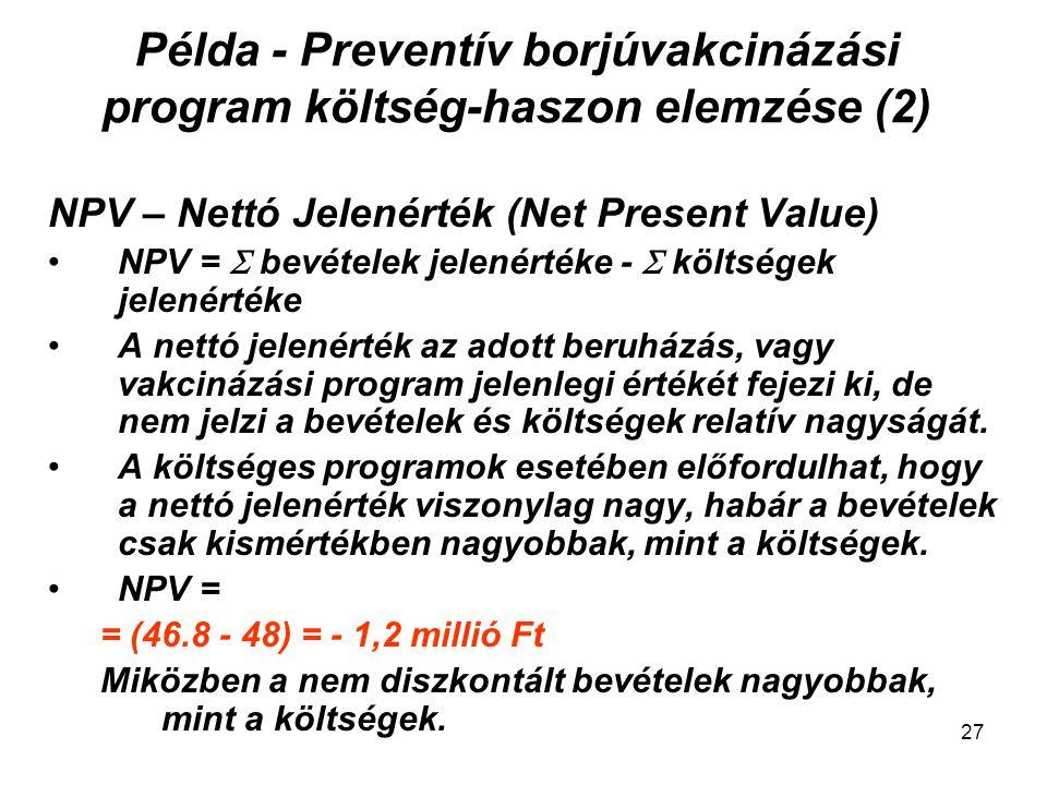 Példa - Preventív borjúvakcinázási program költség-haszon elemzése (2)