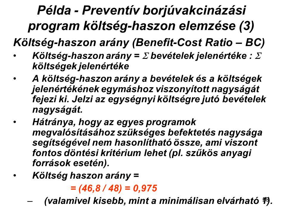 Példa - Preventív borjúvakcinázási program költség-haszon elemzése (3)